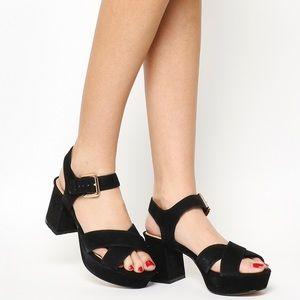 Topshop x Office UK Suede Mid Heel Sandals